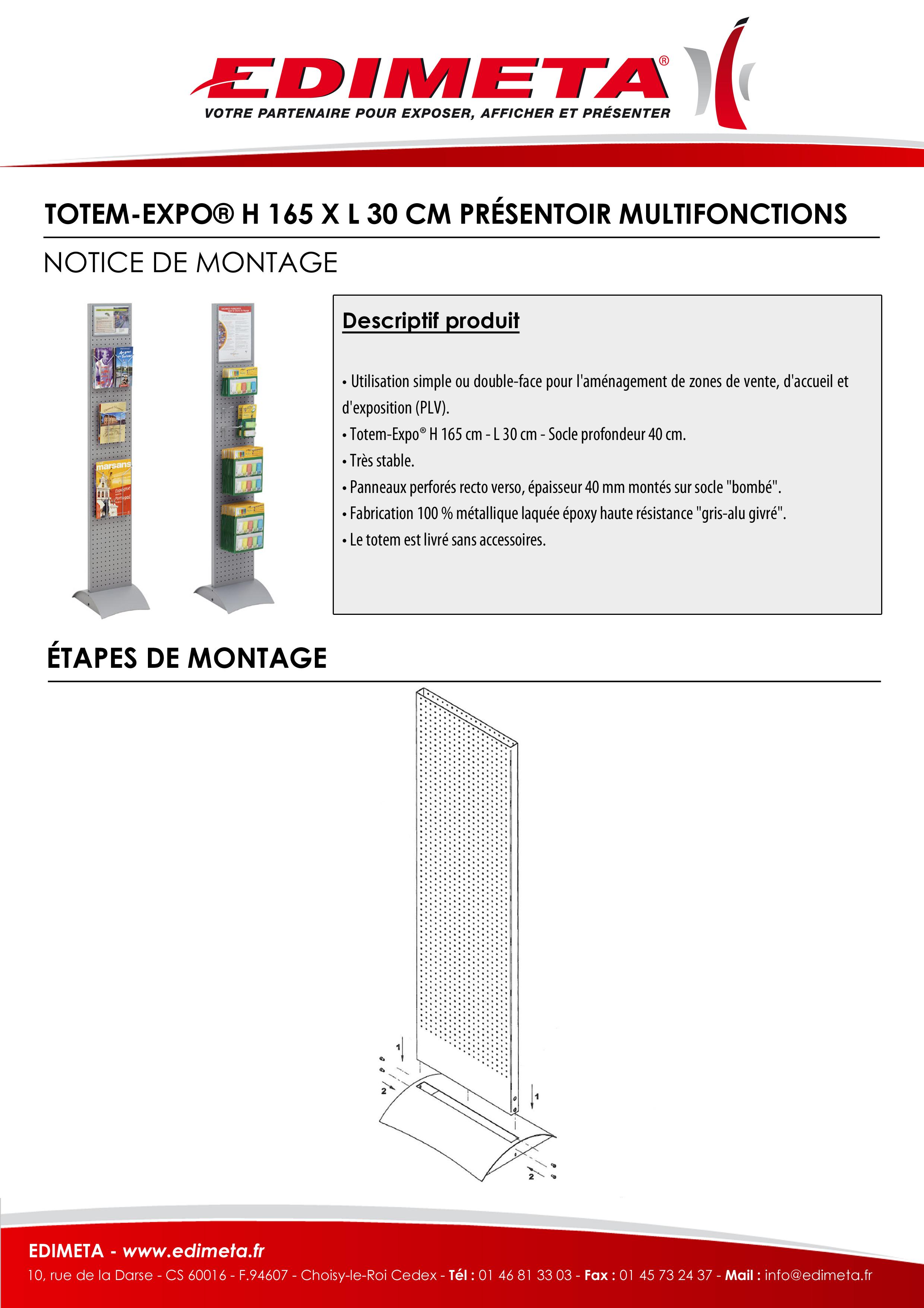NOTICE DE MONTAGE : TOTEM-EXPO® H 165 X L 30 CM PRÉSENTOIR MULTIFONCTIONS