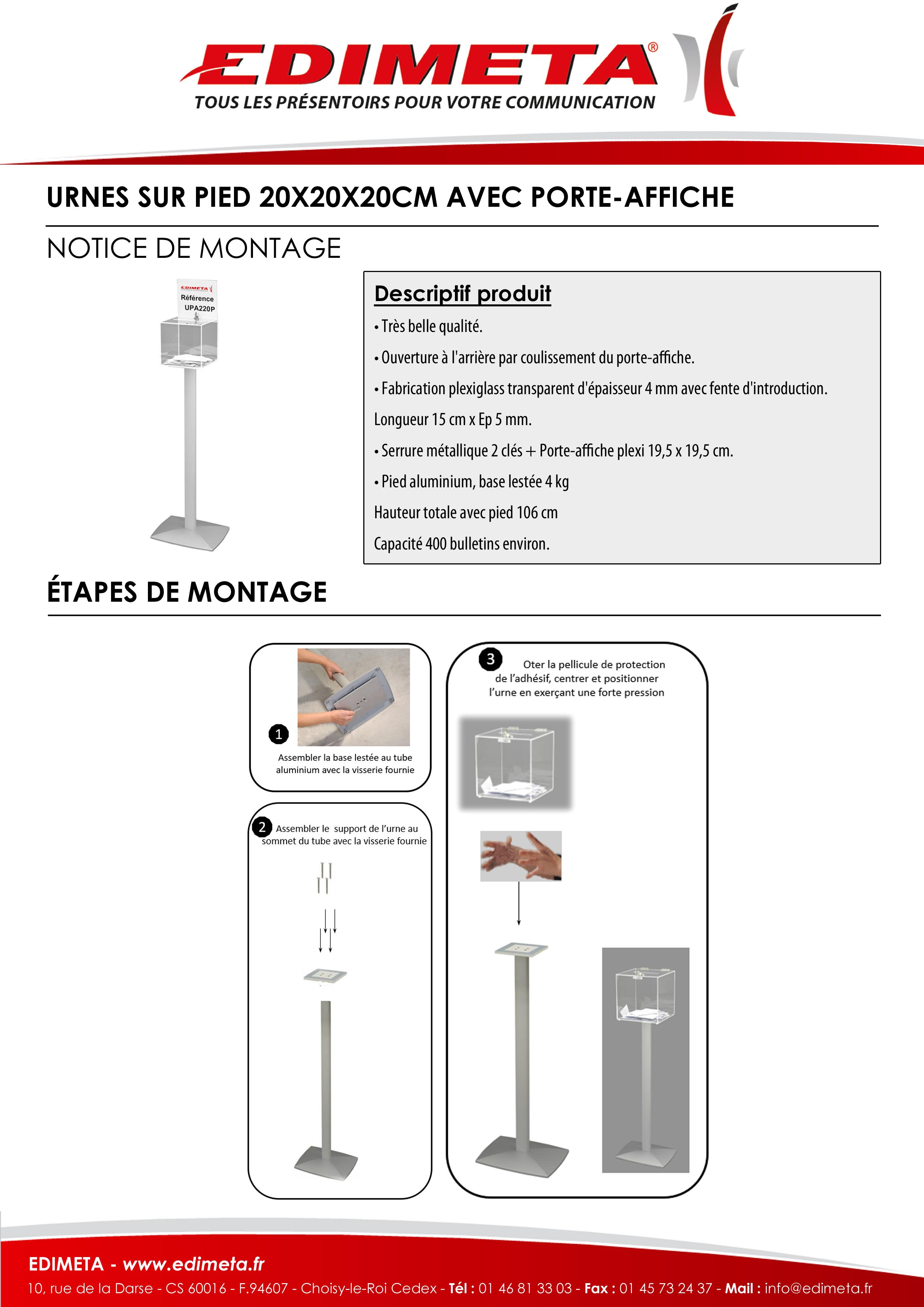 NOTICE DE MONTAGE : URNES SUR PIED 20X20X20CM AVEC PORTE-AFFICHE