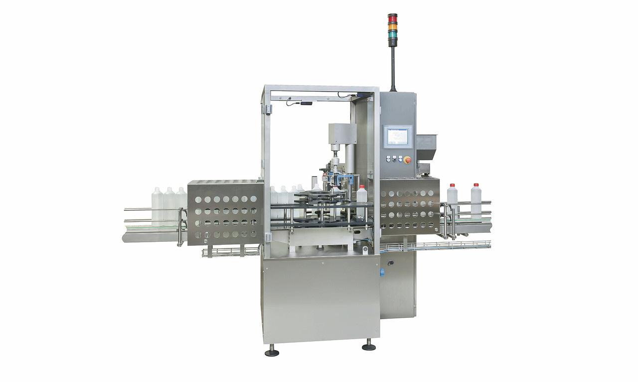 Behältnisse:- Behältnis- oder Verschlusszufuhr als Schüttgut über vollautomatische Sortierung und optionaler Bevorratung