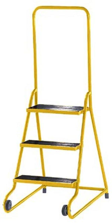 mit 3 Stufen Stabile, pulverbeschichtete Stahlrohrkonstruktion Stützteil mit zwei grauen Gummirädern, Rad-Ø 75 mm, und z