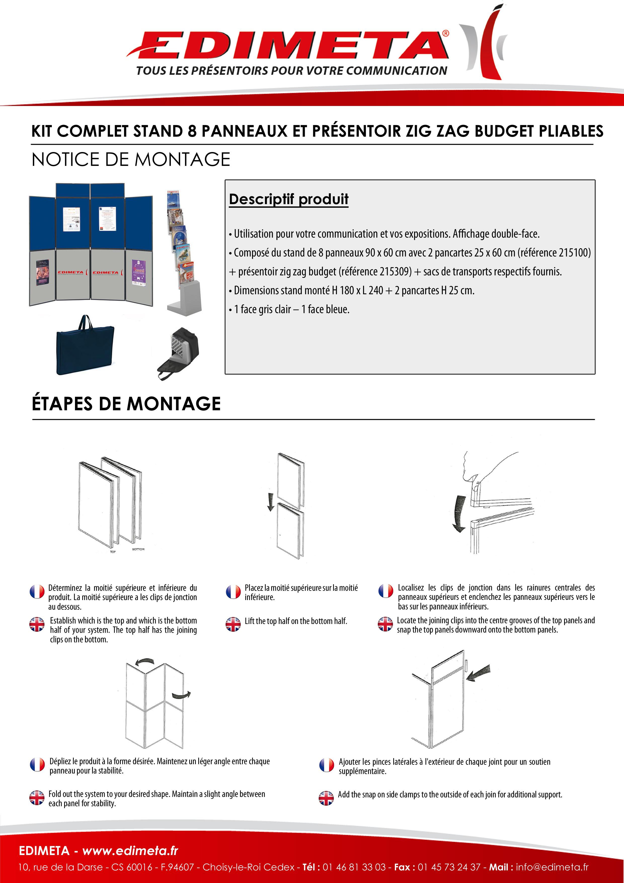 NOTICE DE MONTAGE : KIT COMPLET STAND 8 PANNEAUX ET PRÉSENTOIR ZIG ZAG BUDGET PLIABLES