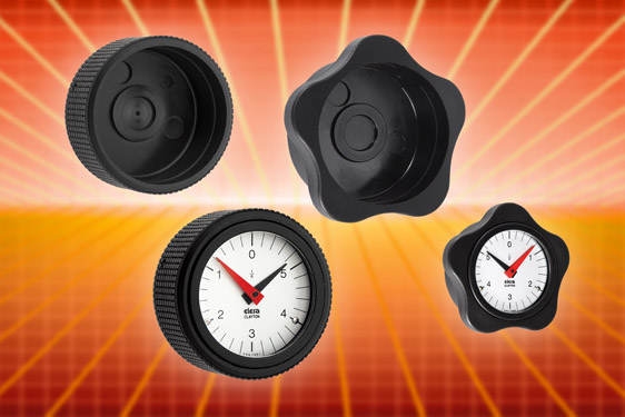 The MBT-XX diamond cut knobs are suited to Elesa's gravity and positive drive plastic or metal indicators for shaft posi