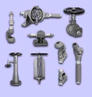 Vinkelväxlar, länksystem, armaturer och ventiler för skeppsbyggnad, rörledningsbyggnad, kemikalieindustri, oljeindustri,