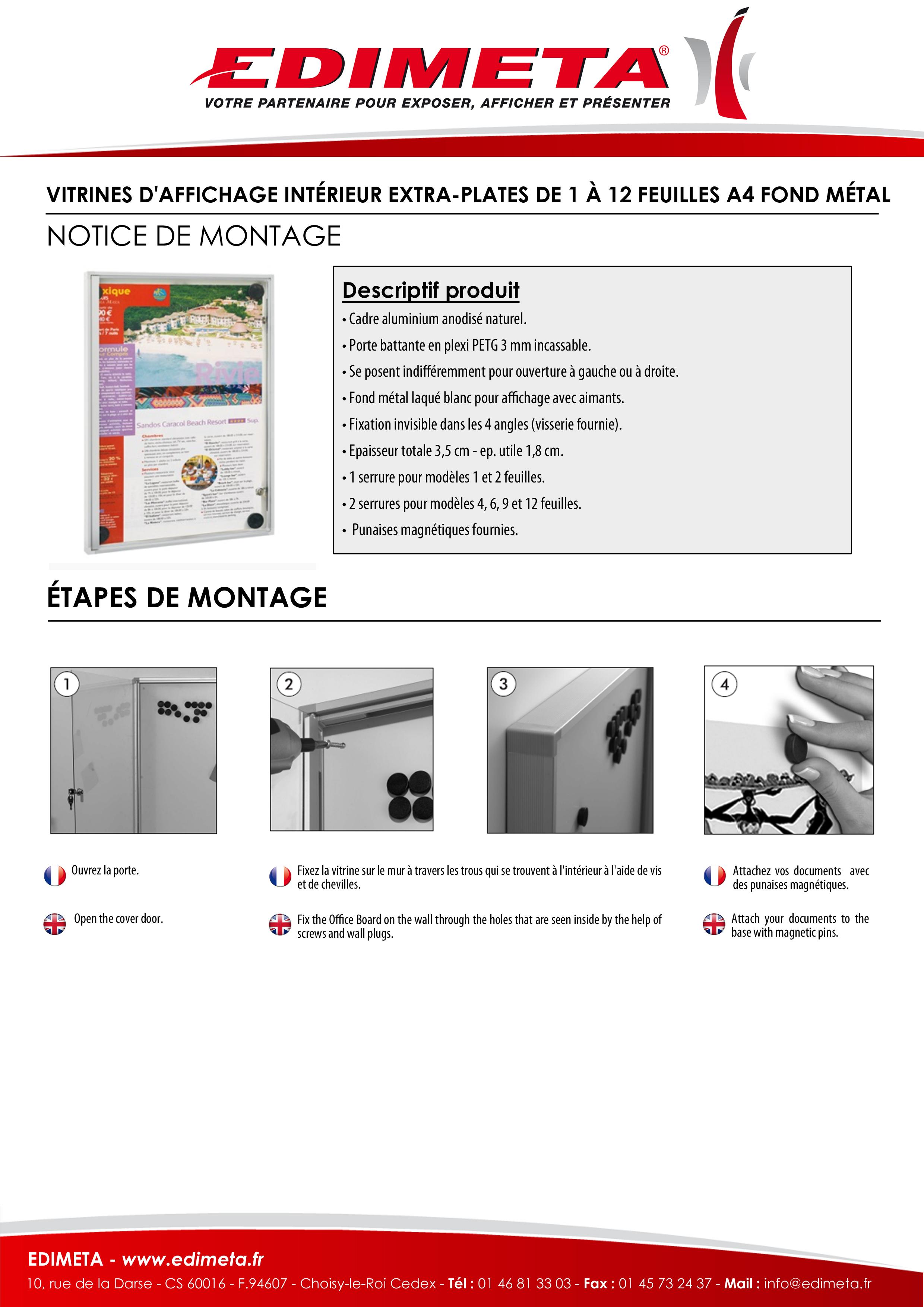 NOTICE DE MONTAGE : VITRINES D'AFFICHAGE INTÉRIEUR EXTRA-PLATES DE 1 À 12 FEUILLES A4 FOND METAL