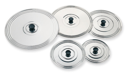 Lidsin stainless steel and anodized aluminum. turn over omelette lids. www.ilsa.es
