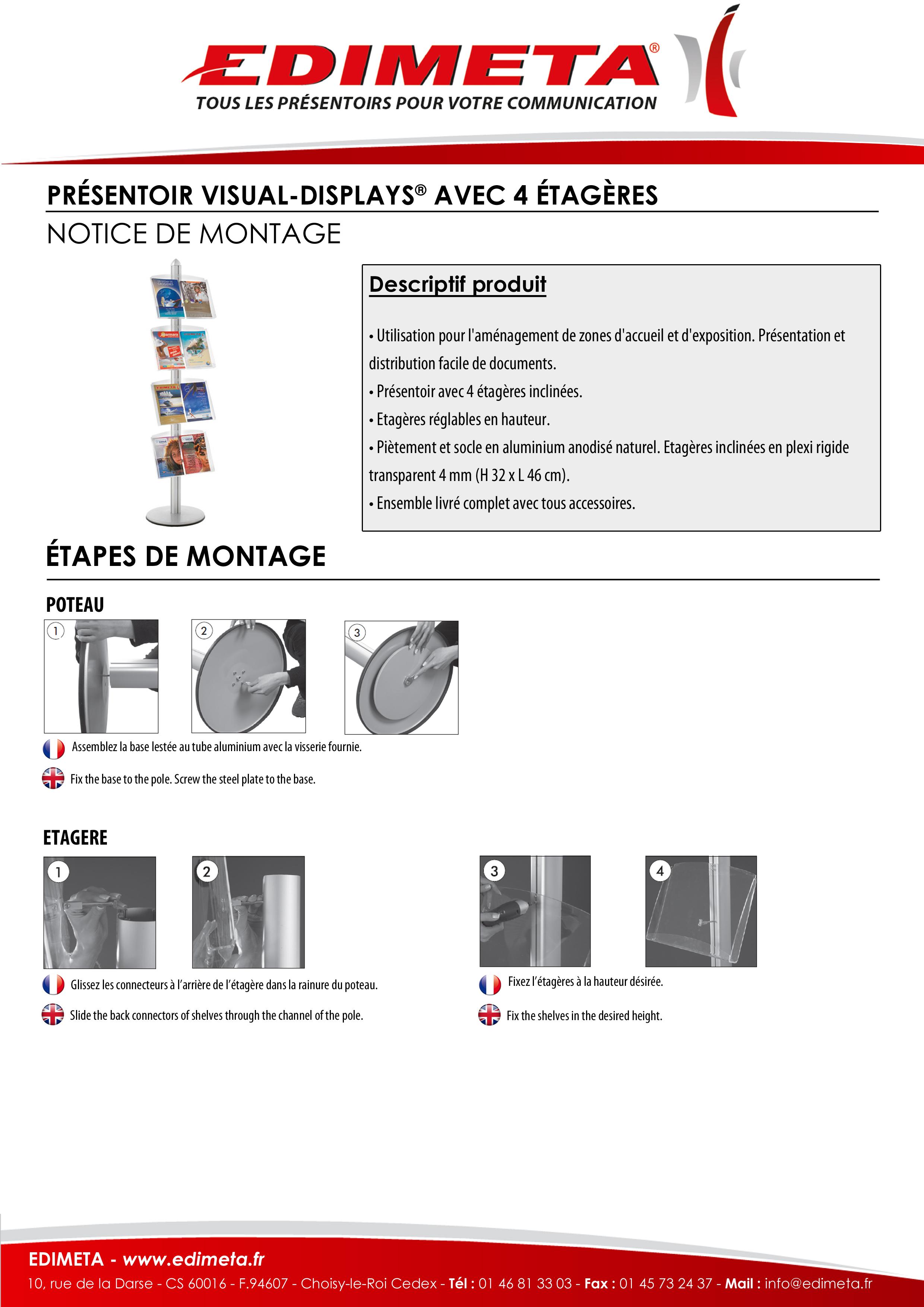 NOTICE DE MONTAGE : PRÉSENTOIR VISUAL-DISPLAYS® AVEC 4 ÉTAGÈRES