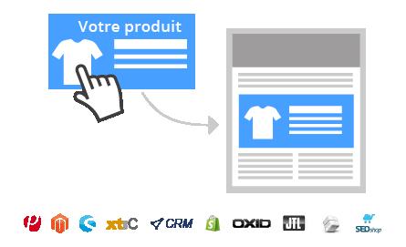 Übernehmen Sie nurdurch Angabe derProduktnummerdas komplette Produkt aus Ihrem Webshop in Ihren Newsletter. Es werden