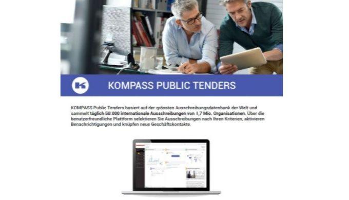 KOMPASS Public Tenders basiert auf der grössten Ausschreibungsdatenbank der Welt und sammelt täglich 50.000 internationa