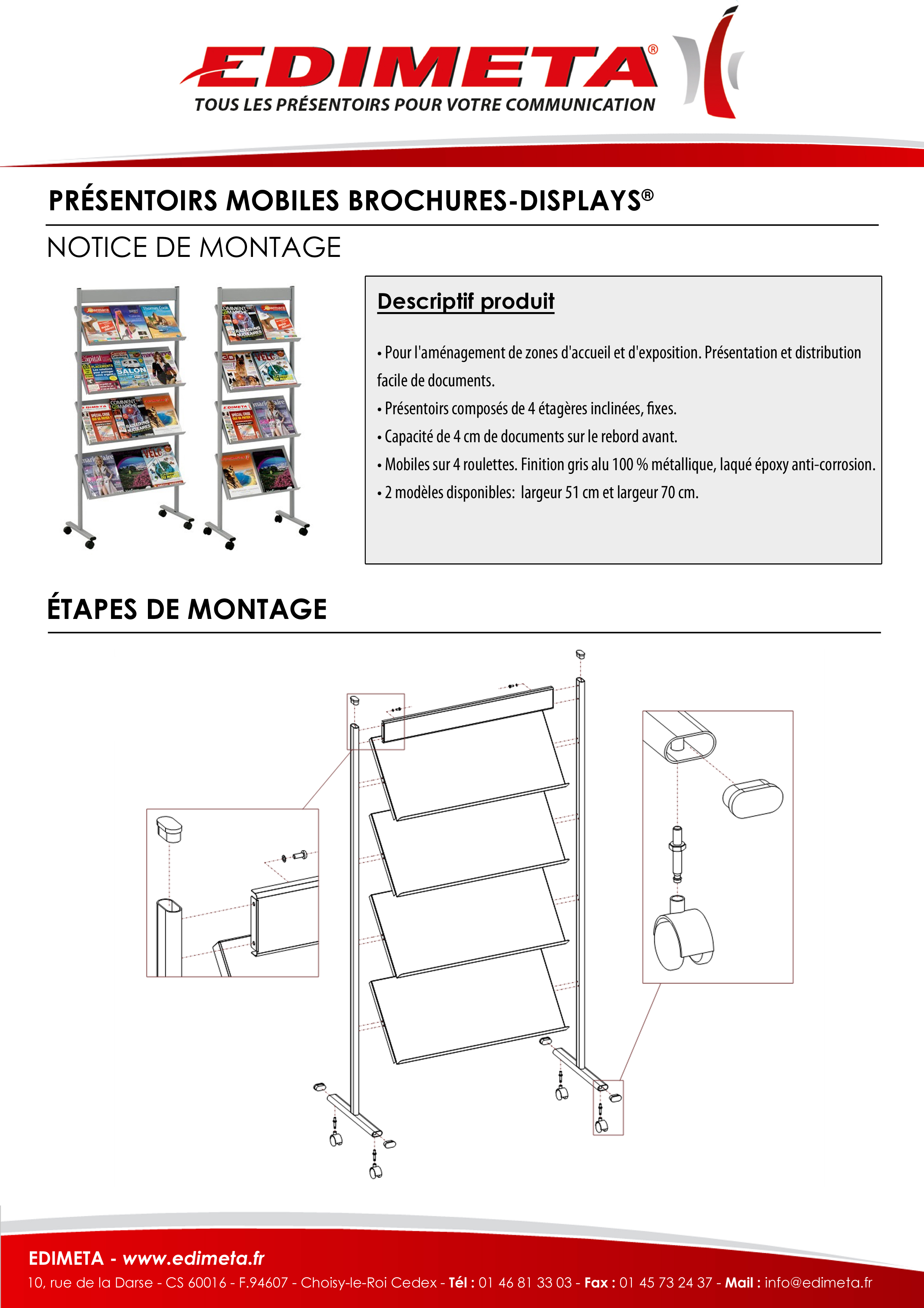 NOTICE DE MONTAGE : PRÉSENTOIRS MOBILES BROCHURES-DISPLAYS®