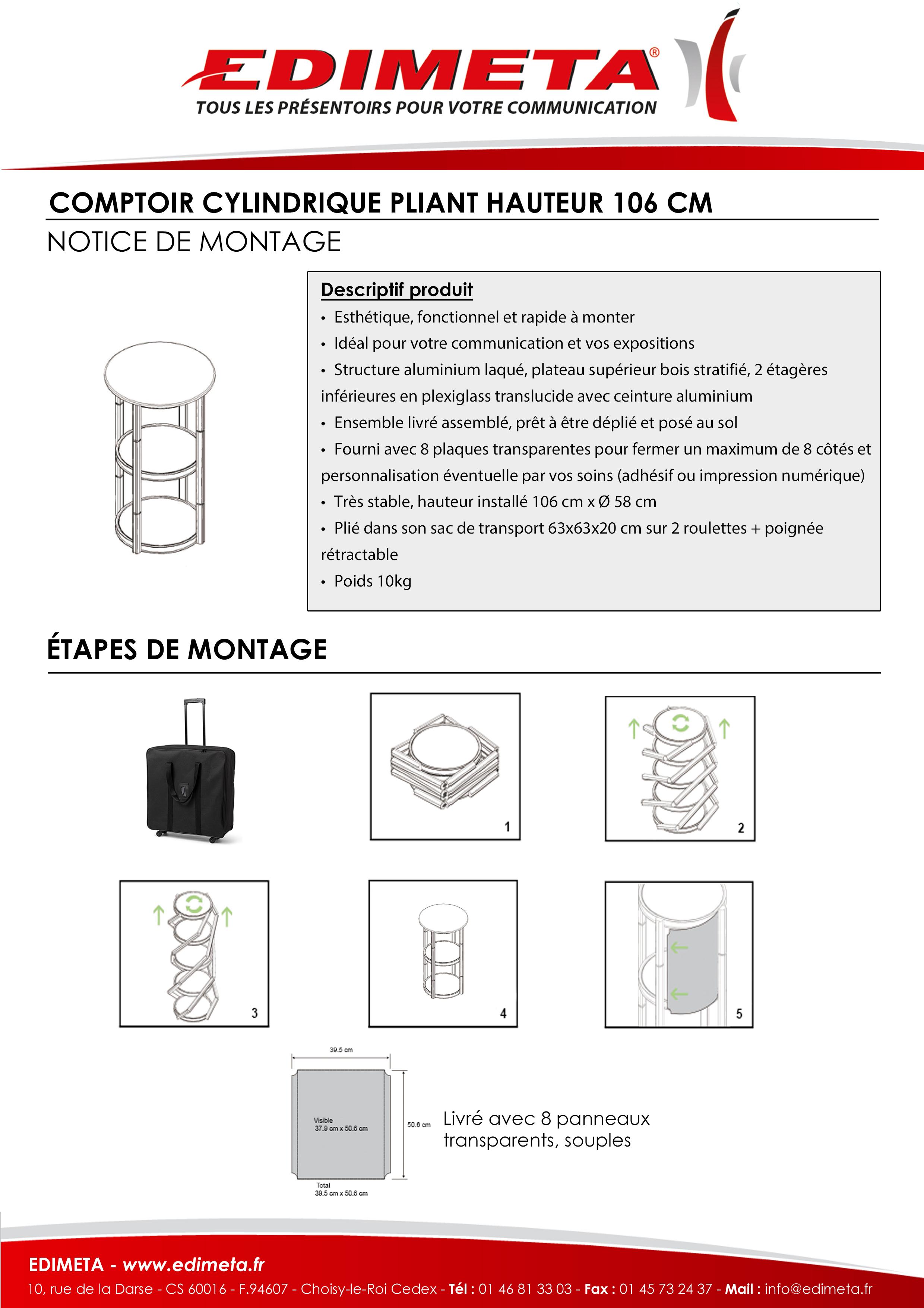 NOTICE DE MONTAGE : 215101 COMPTOIR CYLINDRIQUE PLIANT HAUTEUR 106 CM