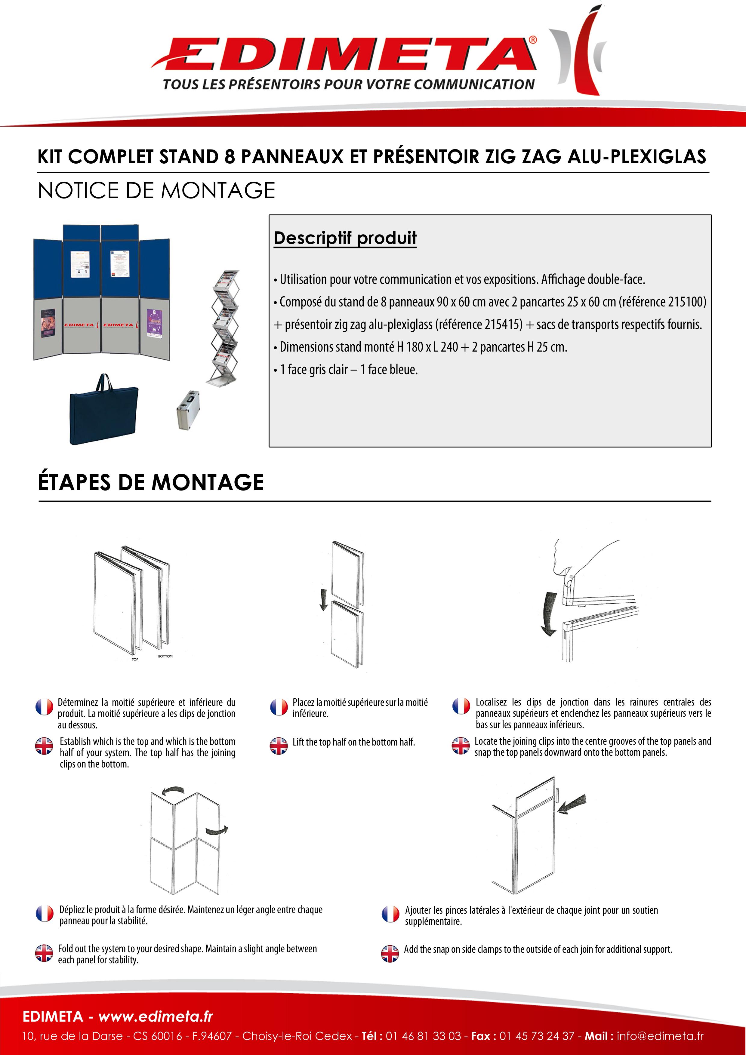 NOTICE DE MONTAGE : KIT COMPLET STAND 8 PANNEAUX ET PRÉSENTOIR ZIG ZAG ALU-PLEXIGLASS PLIABLES
