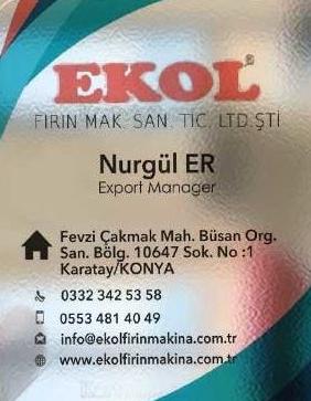 Ekol Fırın Makina Sanayi ve Ticaret Ltd. Şti. (Ekol Fırın Makina San. Tic. Ltd. Şti.)
