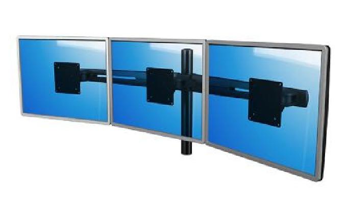 Soportes para fijar uno o varios monitores de pantalla plana en diferentes formatos, alturas y colocaciones. Disponibles