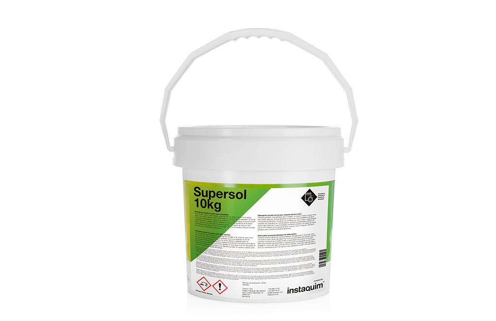 Supersol, detergente clorado en polvo para lavavajillas.