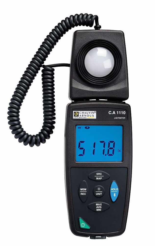 The C.A 1110 luxmeter measures the illuminance of all light sources (LED, Fluo. etc.) up to 200,000 lux in compliance wi