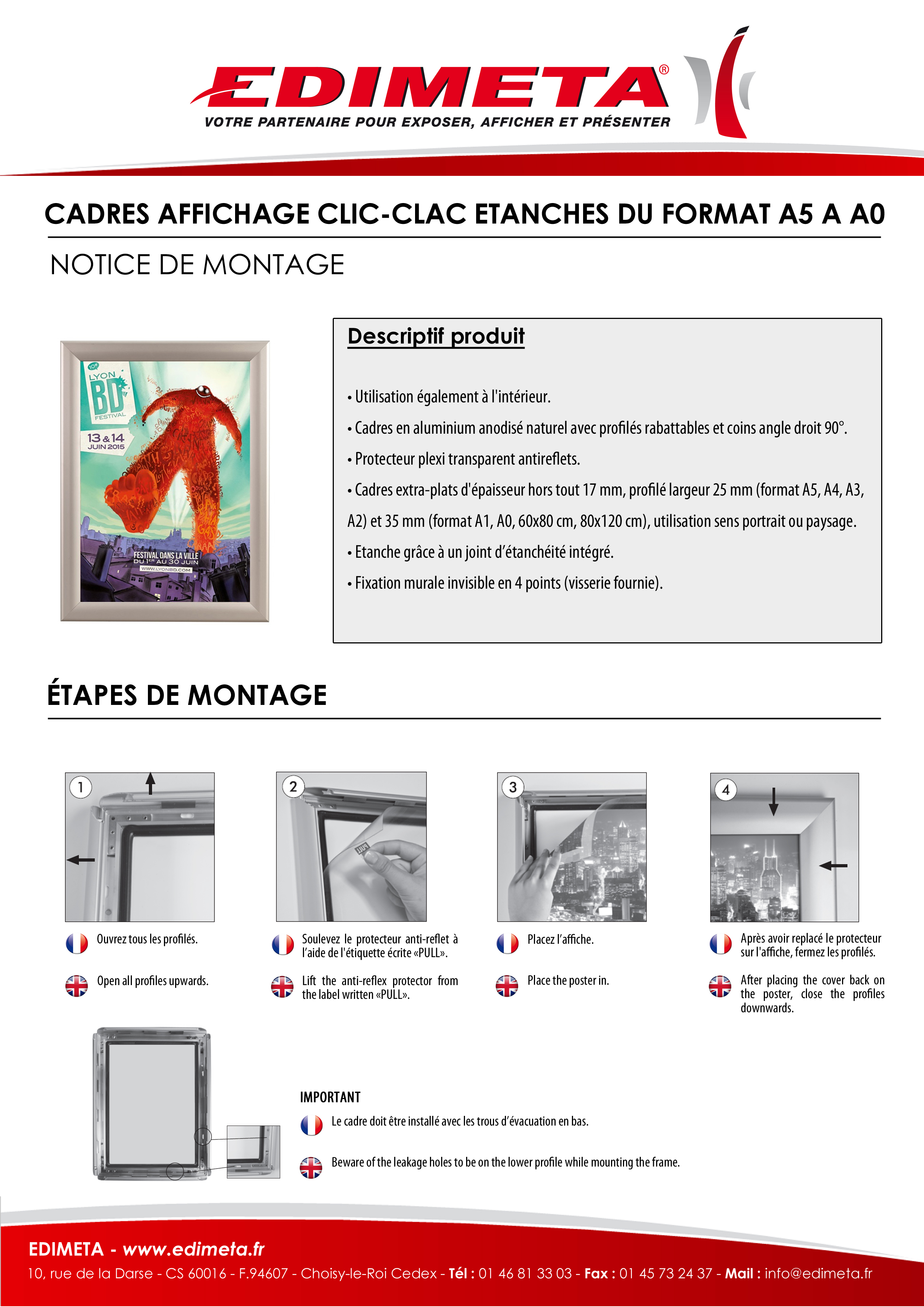 NOTICE DE MONTAGE : CADRES AFFICHAGE CLIC-CLAC ETANCHES DU FORMAT A5 A A0