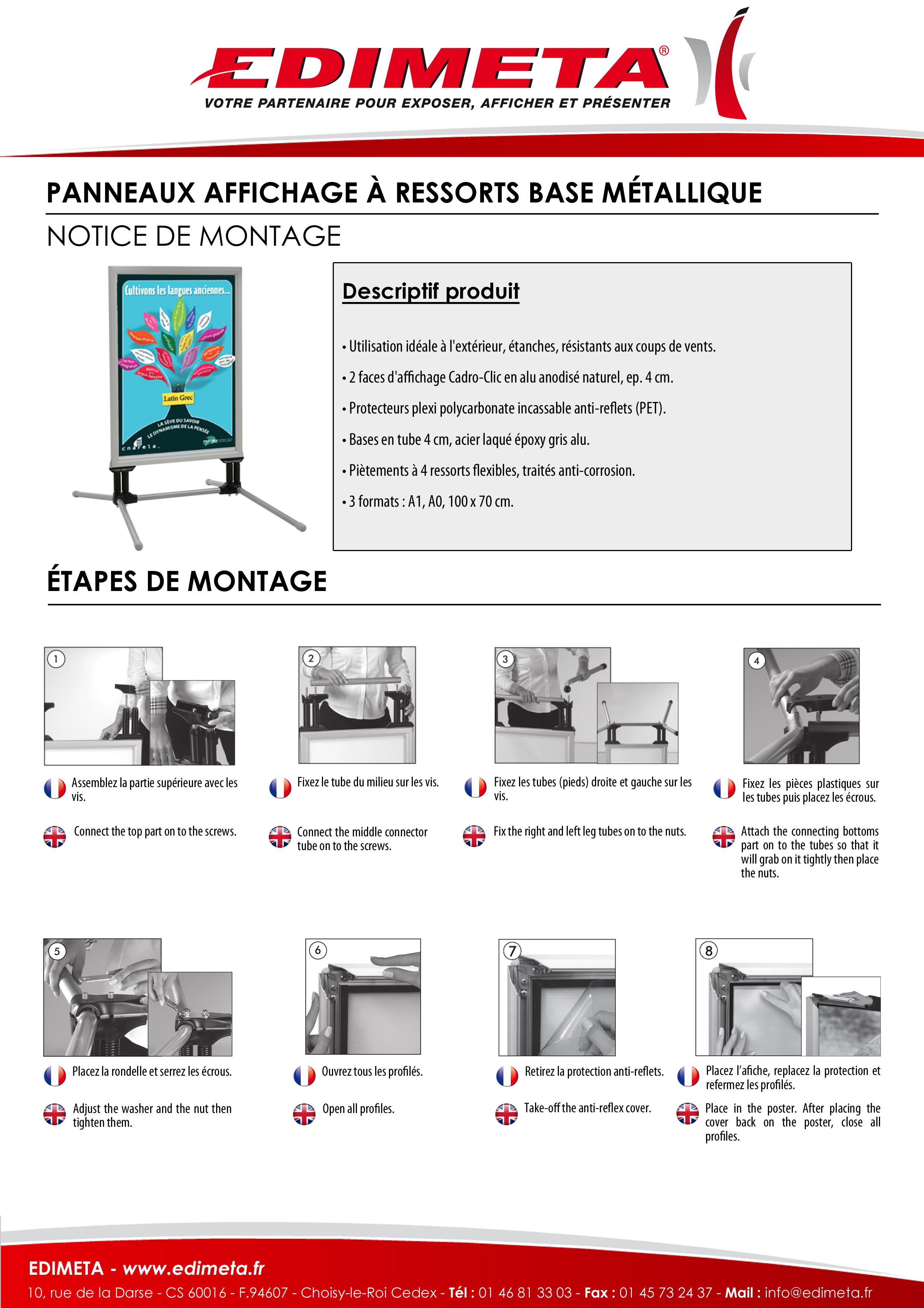 NOTICE DE MONTAGE : PANNEAUX AFFICHAGE À RESSORTS BASE MÉTALLIQUE