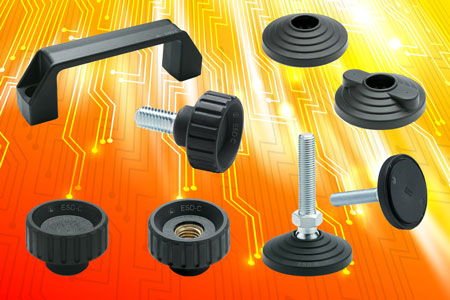 The Elesa range of ESD fluted grip knobs, levelling element bases and bridge handles in special conductive technopolymer