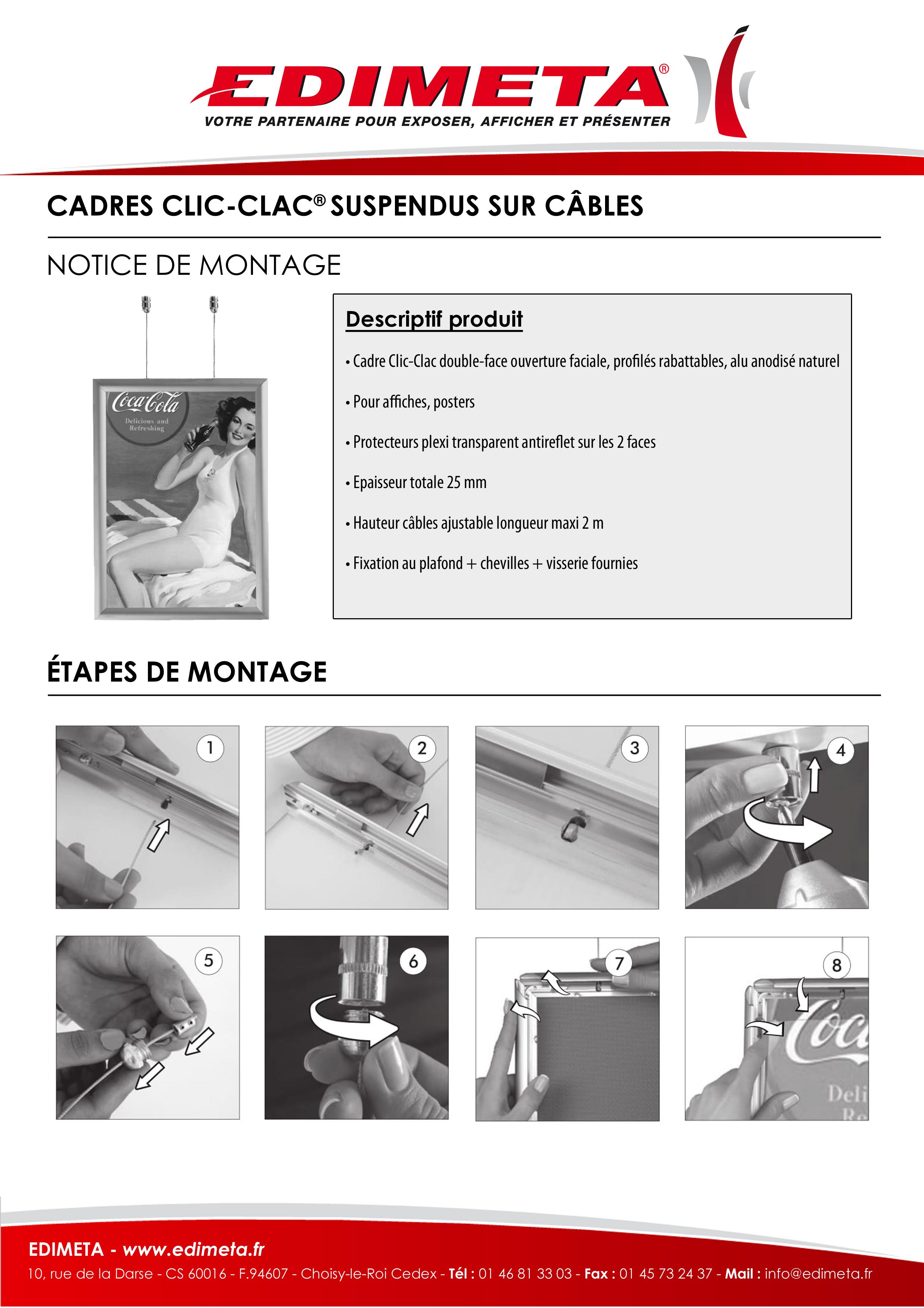 NOTICE DE MONTAGE : CADRES CLIC-CLAC® SUSPENDUS SUR CÂBLES