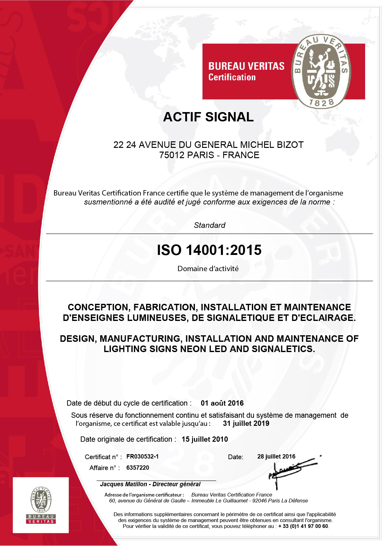 Actif Signal certifiée ISO 14001:2015 !