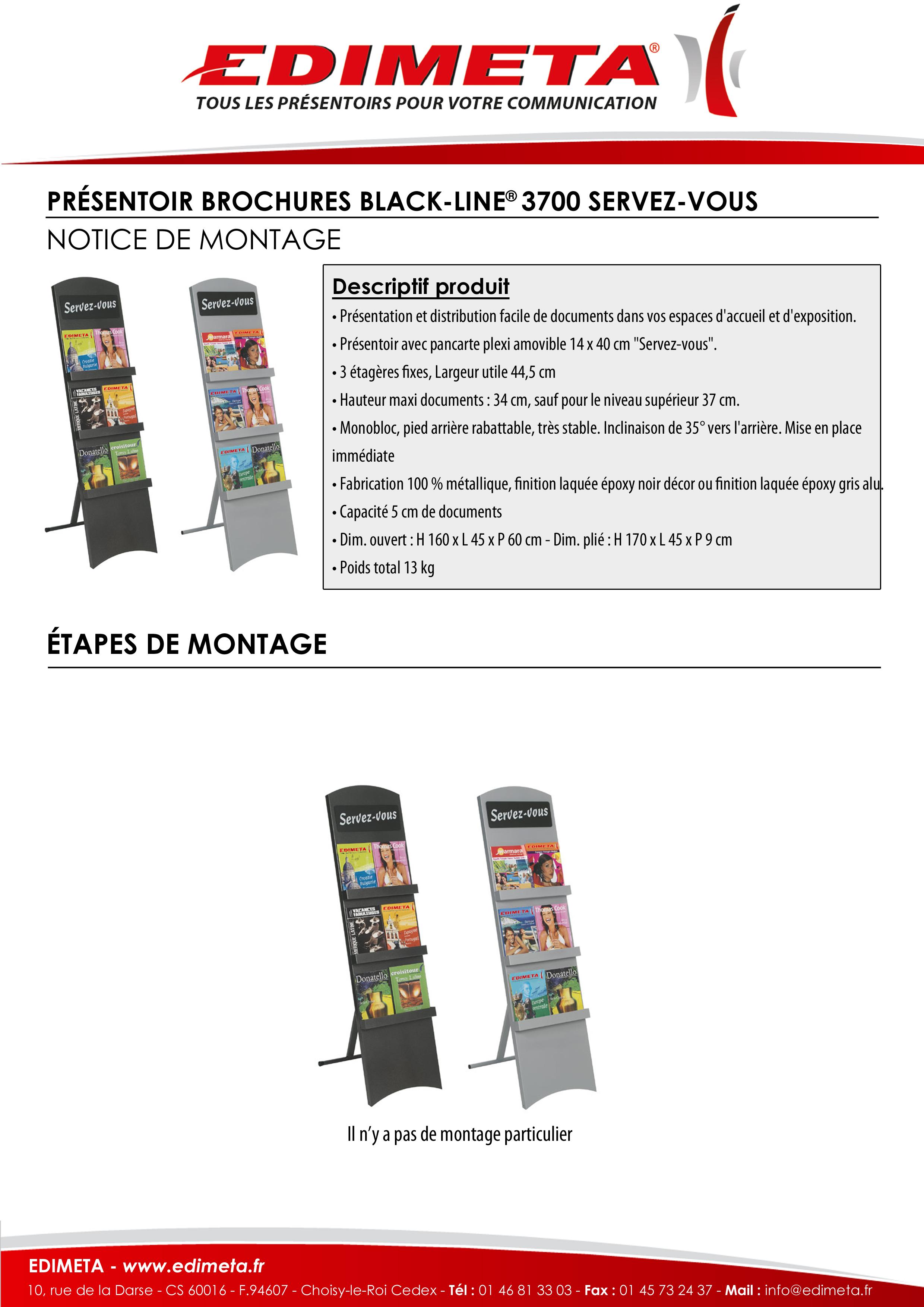 NOTICE DE MONTAGE : PRÉSENTOIR BROCHURES BLACK-LINE® 3700 SERVEZ-VOUS