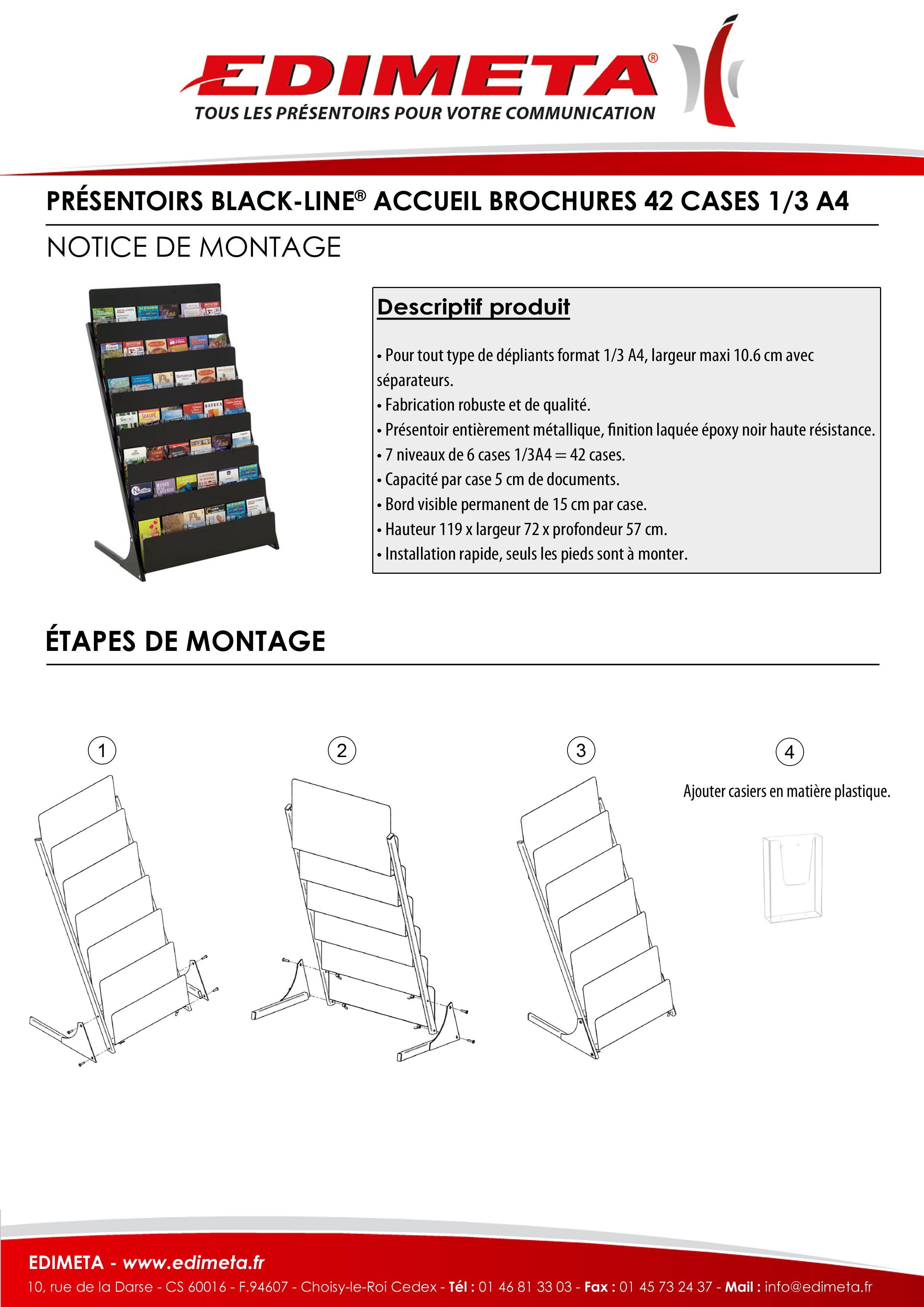 NOTICE DE MONTAGE : PRÉSENTOIRS BLACK-LINE® ACCUEIL BROCHURES 42 CASES 1/3 A4