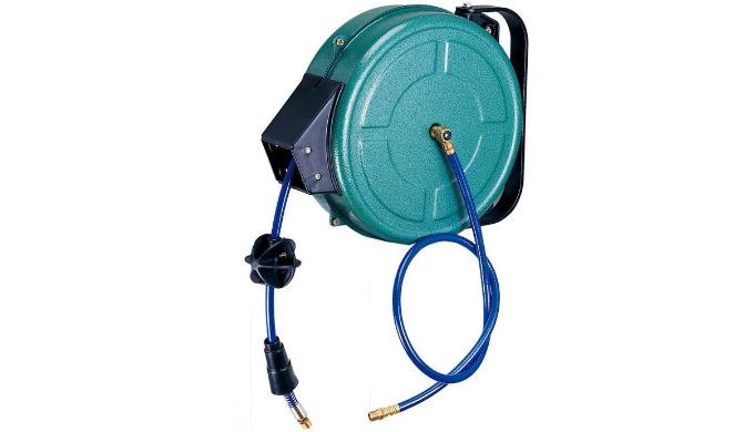 • Fonction : pour passage pneumatique • Équipé avec support pivotant • Matière : acier peint Époxy • Longueur du tuyau :