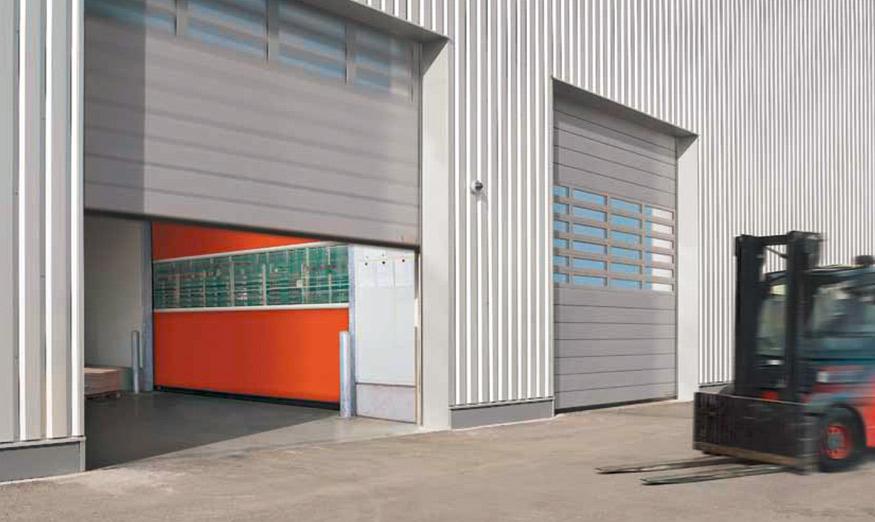 Cette porte à enroulement spirale allie rapidité d'ouverture, design et une excellente isolation thermique. Elle dispose