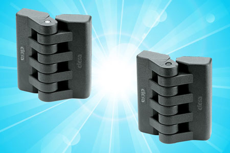 Plastic hinges for enclosures, access panels and machine guards