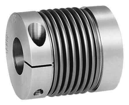 Werkstoff: Nabe Aluminium, Balg Edelstahl. Ausführung: blank. Hinweis: Durch die radial betätigte Klemmnabe ergeben sich
