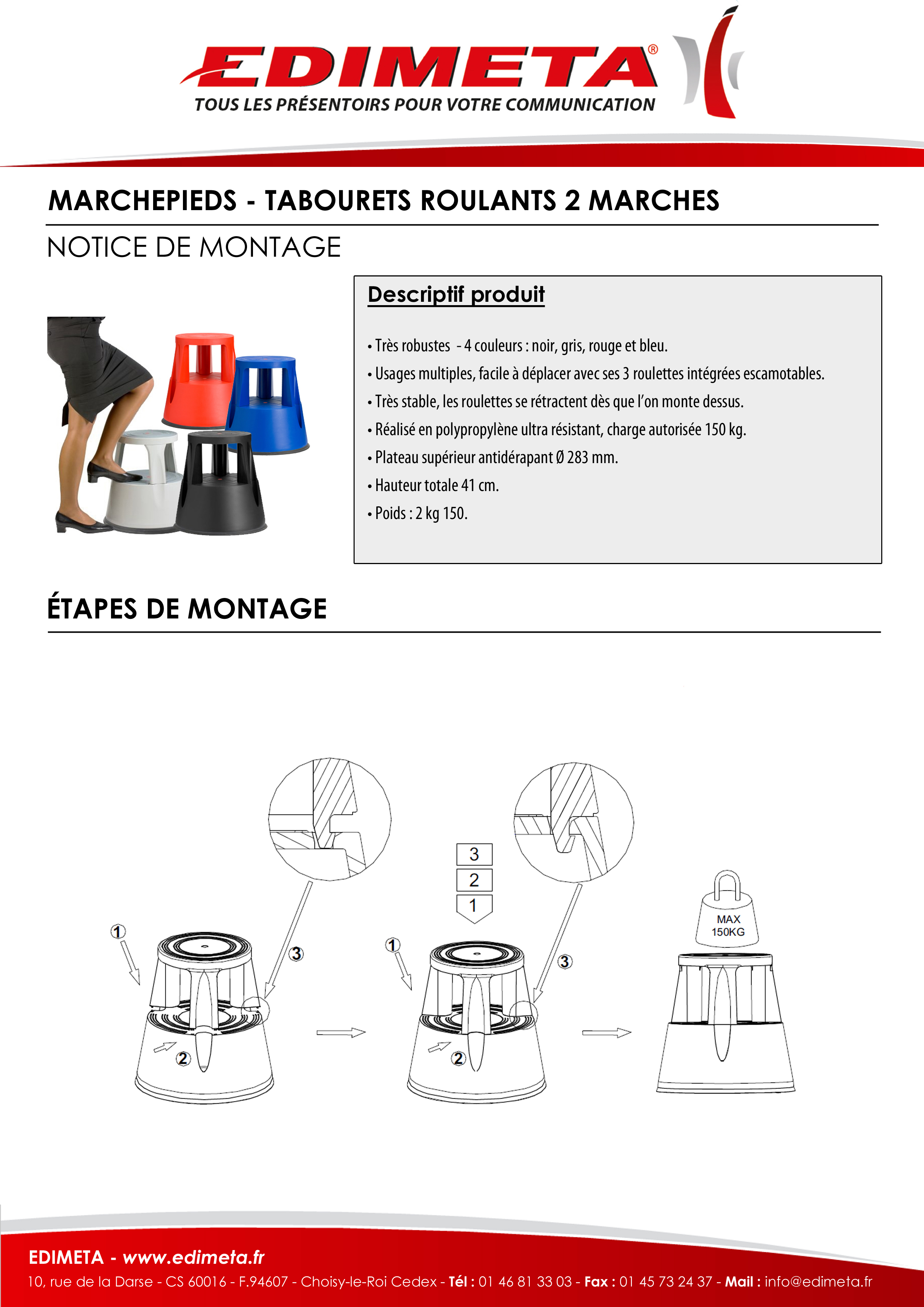 NOTICE DE MONTAGE : MARCHEPIEDS - TABOURETS ROULANTS 2 MARCHES