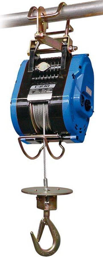 Tragfähigkeit 230 kgBerührt die Seilscheibe beim Hochziehen den oberen Begrenzungsschalter wird der Vorgang automatisch