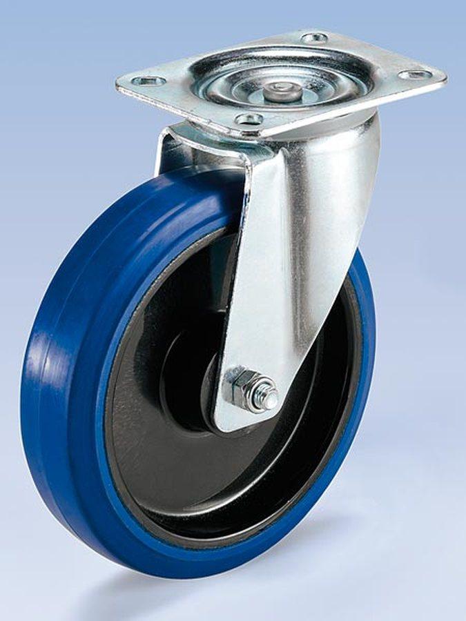 Rad-Ø x Breite 80 x 35 mmGehäuse Stahlblech, verzinkt, Schwenklager mit doppeltem Kugelkranz, Schwenklagerschutz. Rollen