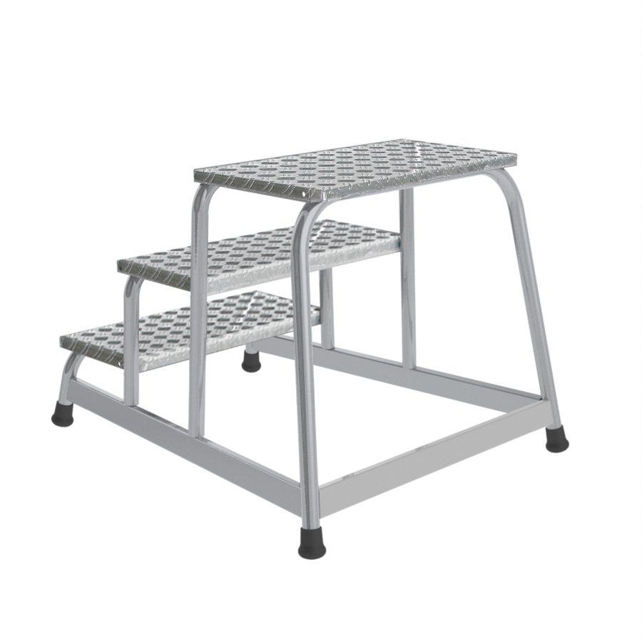 Trittfläche 550 x 300 mm Mit Aluminium-Riffelblech-Stufen Besonders stabil und standfest Geschweißte Alu-Rohrkonstruktio