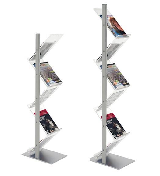 Esthétiques et fonctionnels pour disposer vos brochures. 2 modèles : 5 et 6 étagères. Utilisation pour l'aménagement de