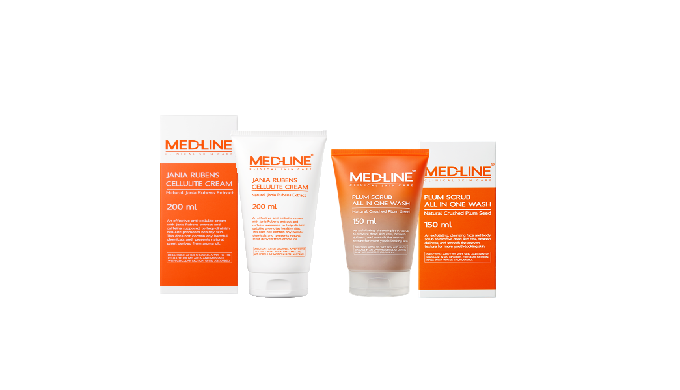 MED-LINE BODY CARE LINE - Plum Scrub All-in-one Body Wash - The plum seed powder helps to manage irritated excessive ker
