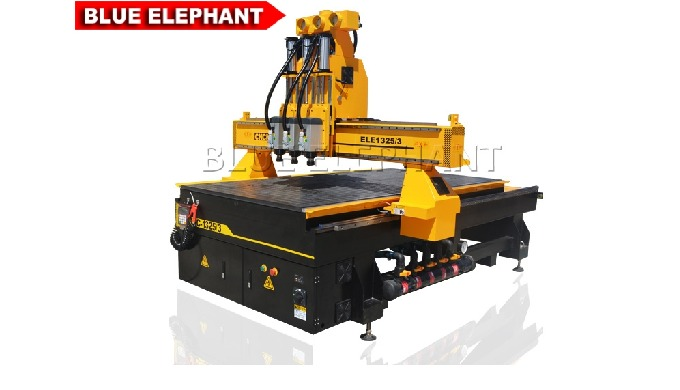 Why we design this kind of machine? 1. Like 1325-3 Wood CNC Router, the machine was designed with  two heads. And the am