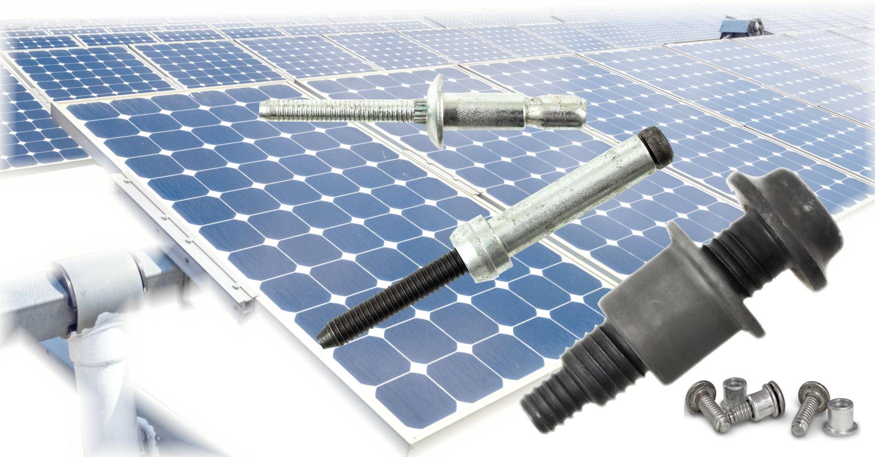 Remaches estructurales y remaches de collar HUCK® Especialmente desarrollados para aplicaciones en la industria solar