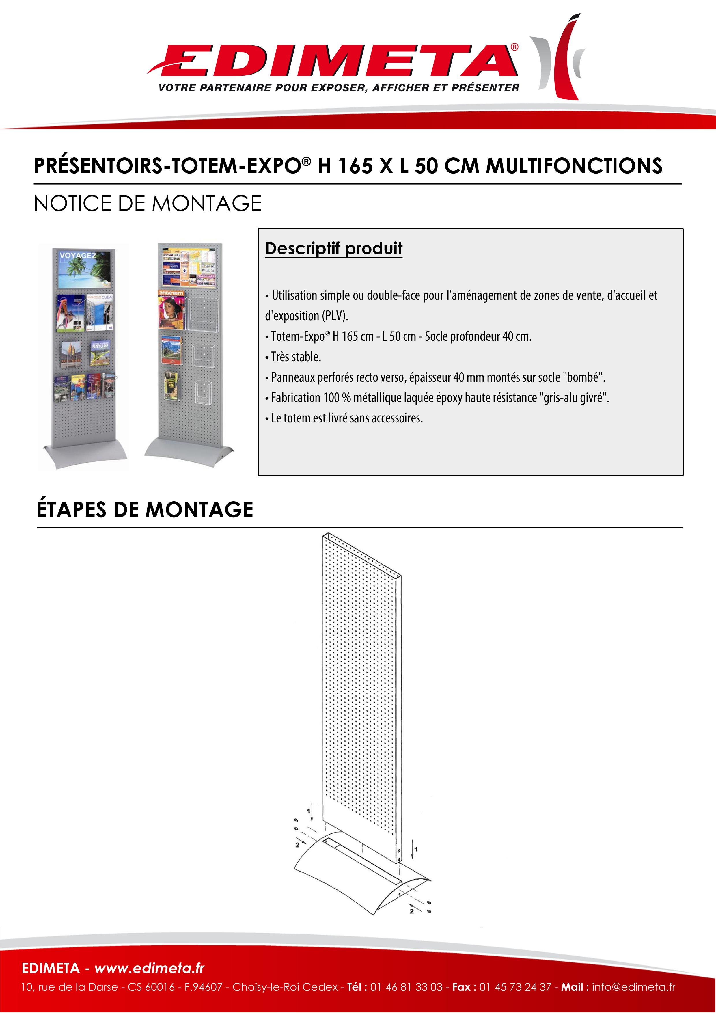 NOTICE DE MONTAGE : PRÉSENTOIRS-TOTEM-EXPO® H 165 X L 50 CM MULTIFONCTIONS