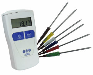 A complete Colour Coded Catering Thermometer Kit with waterproof thermometer and full set of 6 dishwasher-safe colour co