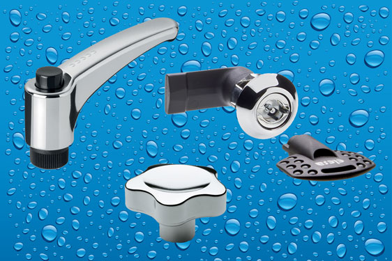 Elesa high quality chrome on engineering plastic rivals stainless steel for standard components in hygiene applications