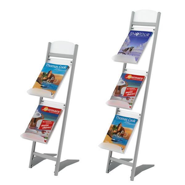 Idéal pour présenter vos brochures sur un stand ou à l'accueil Structure en aluminium anodisé naturel Tablettes inclinée