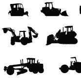 Engin de chantier ou engin de génie civil : -grue -bétonnière -bulldozer -pelle mécanique hydraulique -décapeuse -ni
