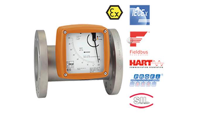Mess- /Schaltbereich: 10 - 100 ... 4000 - 40000 l/h Wasser 0,3 - 3,0 ... 110 - 1100 Nm⊃3&#x3b;/h Luft Anschluss: Flansch DN15