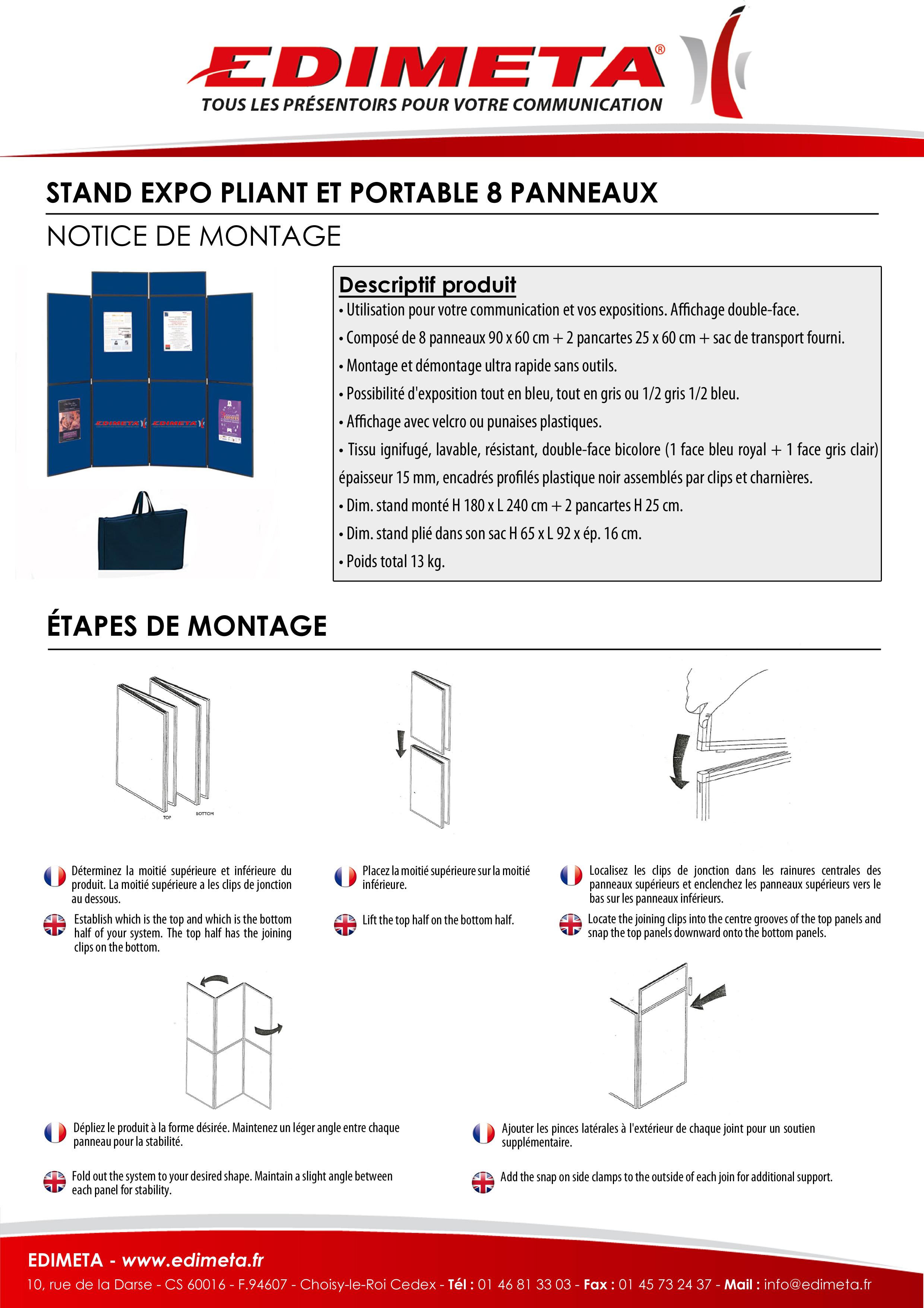 NOTICE DE MONTAGE : STAND EXPO PLIANT ET PORTABLE 8 PANNEAUX