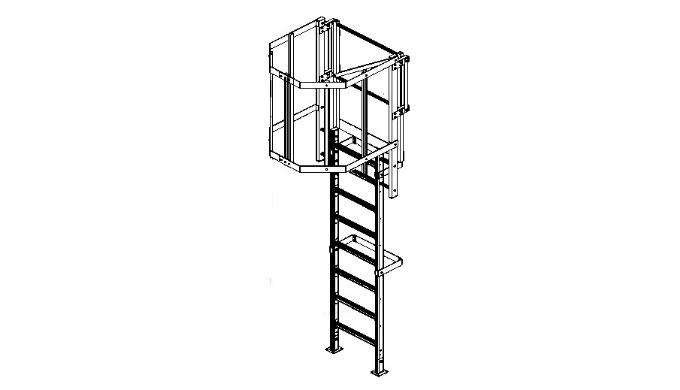 Echelle à crinoline standard en aluminium équipée de protections dorsales entre 2 m et 3 m et d'une sortie haute équipée