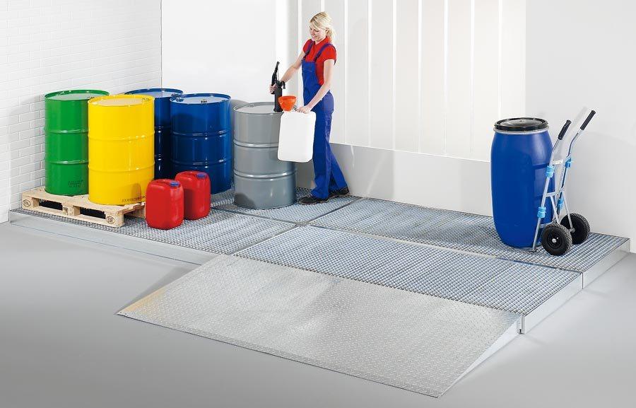 Breite 1000 mmGewässergefährdende und entzündbare Stoffe müssen sicher und vorschriftsmäßig gelagert und gehandhabt werd