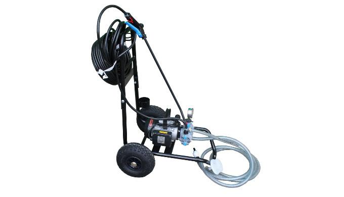 Pompe 220 volts, sur chariot, facile à déplacer, idéale pour la pulvérisation à distance et en hauteur. Elle peut être u