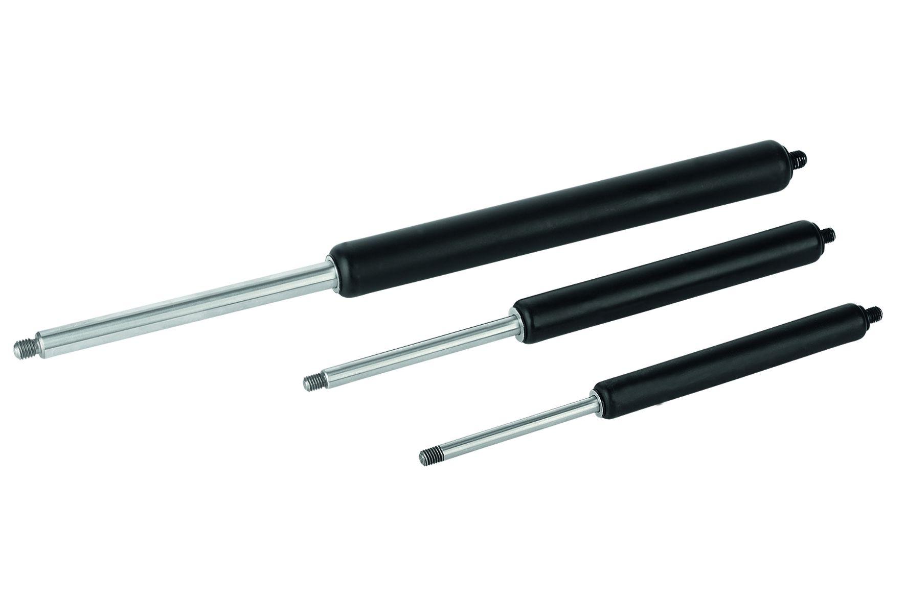 Werkstoff: Kolbenstange, Druckrohr Stahl. Füllmedium: Öl, Stickstoff. Ausführung: Kolbenstange hartverchromt. Bei Kolb