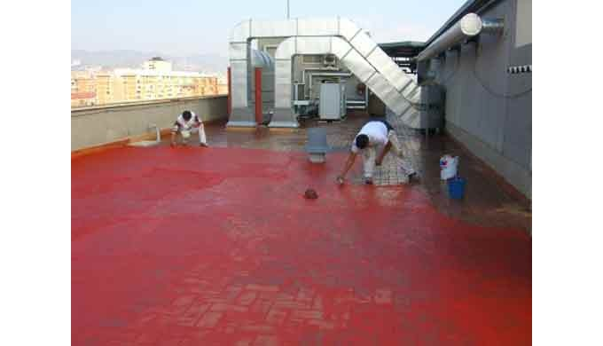 Impermeabilización de azotea con malla de nylon.
